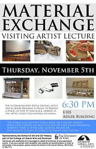 Poster for visiting artist Material Exchange