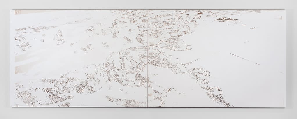 Panoramic white drawing with map-like lines and textures