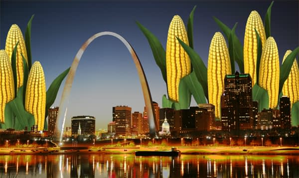 Campy image of corn ears growing above the St. Louis Arch