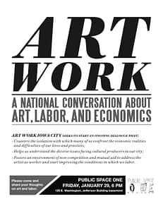 Poster for local iteration of Art Work by Temporary Services