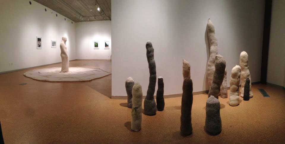 Gallery installation with knitted forms