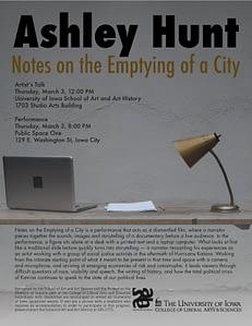Poster for visiting artist Ashley Hunt